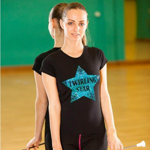 "Tee shirt Twirling Star Noir - ""Twirl Your Life"" - Spécial Clubs (5 pièces min.)"