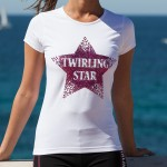"Tee shirt Twirling Star Blanc - ""Twirl Your Life"" - Spécial Clubs (5 pièces min.)"