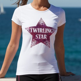 "Tee shirt Twirling Star Blanc - ""Twirl Your Life"""