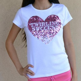 "Tee Shirt ""Twirling success"" coeur en Paillettes rose ou bleu"